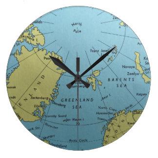 Vintage map of North Pole clock