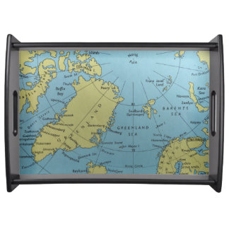 Vintage map of North Pole serving tray