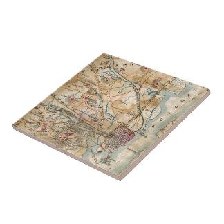 Vintage Map of Northeastern Virginia (1862) Ceramic Tile