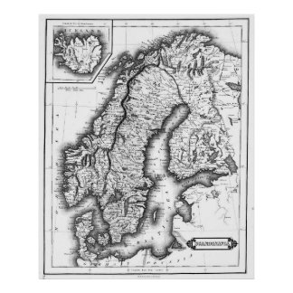 Vintage Map of Norway and Sweden (1831) BW Poster