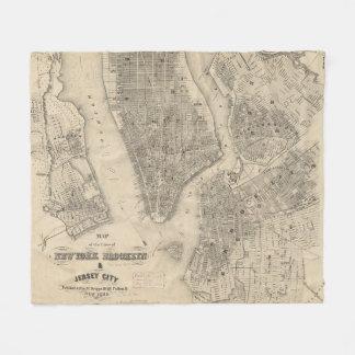 Vintage Map of NYC and Brooklyn (1855) Fleece Blanket
