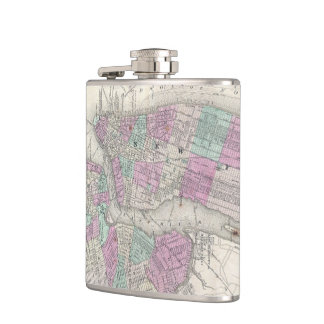 Vintage Map of NYC and Brooklyn (1866) Hip Flask