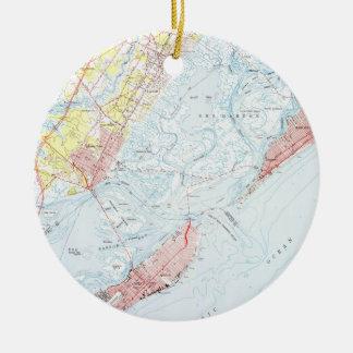 Vintage Map of Ocean City NJ (1952) Ceramic Ornament