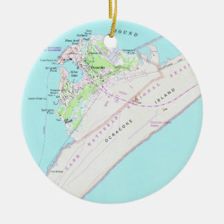 Vintage Map of Ocracoke North Carolina (1948) Ceramic Ornament