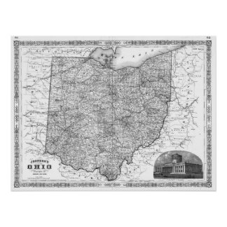 Vintage Map of Ohio (1864) BW Poster