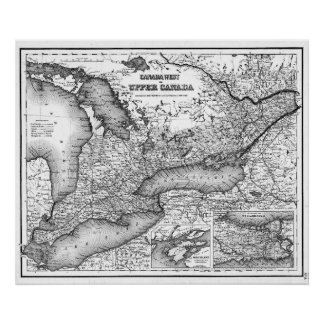 Vintage Map of Ontario (1857) BW Poster