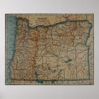 Vintage Map of Oregon (1921) Poster