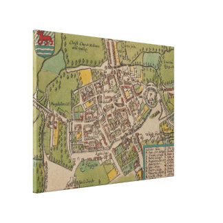 Vintage Map of Oxford England (1605) Canvas Print