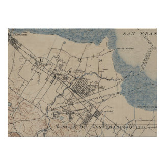 Vintage Map of Palo Alto California (1895) Poster