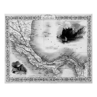 Vintage Map of Panama (1851) BW Poster