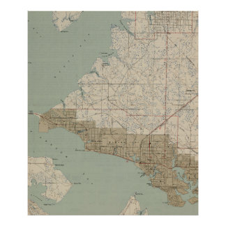 Vintage Map of Panama City Florida (1943) Poster