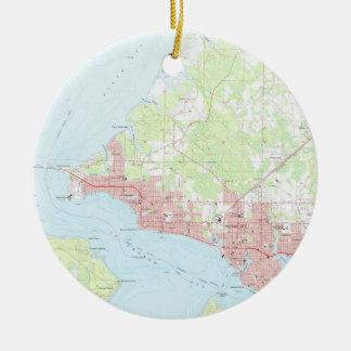Vintage Map of Panama City Florida (1956) Ceramic Ornament