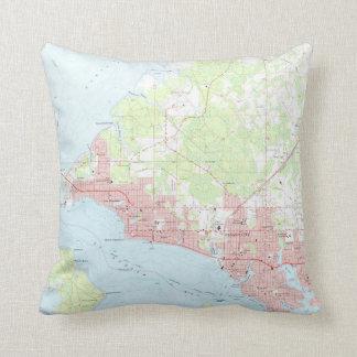 Vintage Map of Panama City Florida (1956) Cushion