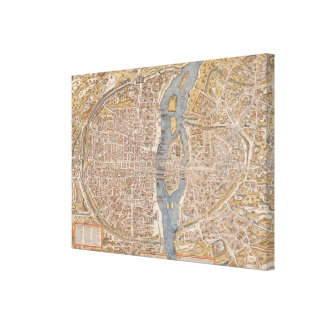 Vintage Map of Paris (1550) Gallery Wrapped Canvas