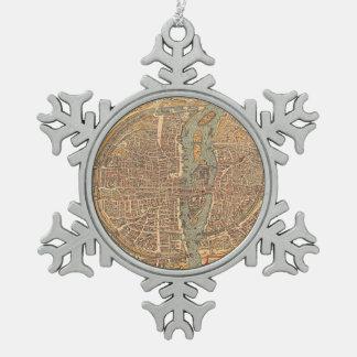 Vintage Map of Paris (1575) Pewter Snowflake Decoration