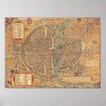 Vintage Map of Paris (1575) Poster