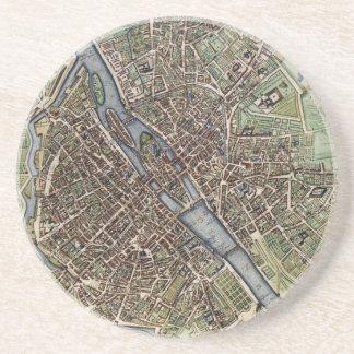 Vintage Map of Paris (1657) Coaster