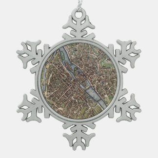 Vintage Map of Paris (1657) Pewter Snowflake Decoration