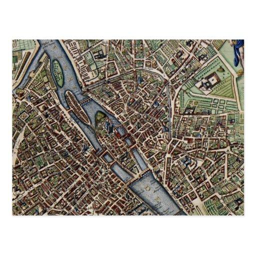 Vintage Map of Paris (1657) Post Cards
