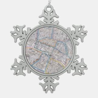 Vintage Map of Paris (1865) Pewter Snowflake Decoration