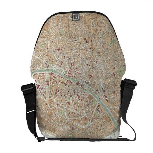 Vintage Map of Paris (1892) Courier Bag