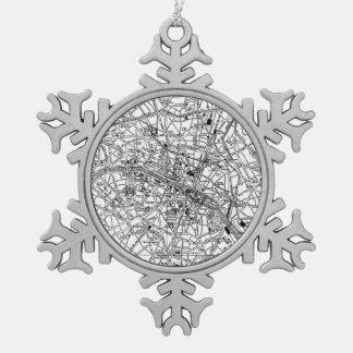 Vintage Map of Paris (1911) Pewter Snowflake Decoration