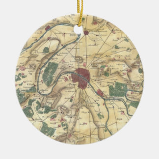 Vintage Map of Paris and Surrounding Areas 1780 Christmas Tree Ornaments