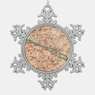 Vintage Map of Paris France (1910) Pewter Snowflake Decoration
