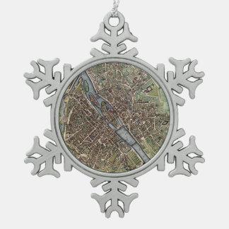 Vintage Map of Paris Pewter Snowflake Decoration