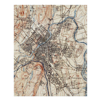 Vintage Map of Paterson NJ (1897) Poster