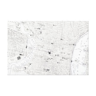 Vintage Map of Philadelphia Stretched Canvas Prints