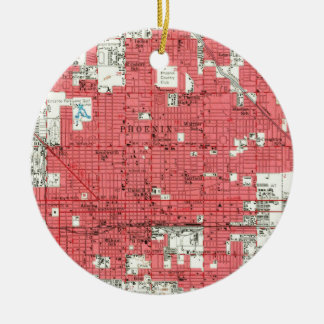 Vintage Map of Phoenix Arizona (1952) 3 Ceramic Ornament