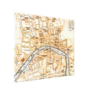 Vintage Map of Pisa Italy (1913) Canvas Print