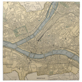 Vintage Map of Pittsburgh PA (1891) Napkin