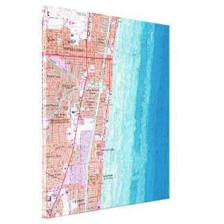 Vintage Map of Pompano Beach Florida (1962) Canvas Print