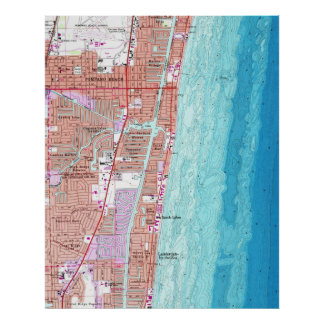 Vintage Map of Pompano Beach Florida (1962) Poster