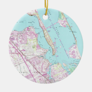 Vintage Map of Port St Lucie Inlet (1948) Ceramic Ornament