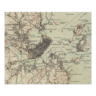 Vintage Map of Portland Maine (1914) Poster