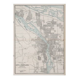 Vintage Map of Portland Oregon (1901) Poster
