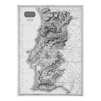 Vintage Map of Portugal (1818) BW Poster