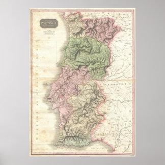 Vintage Map of Portugal (1818) Poster
