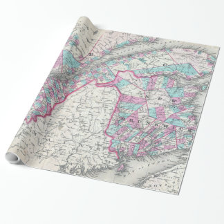 Vintage Map of Quebec and New Brunswick (1870) Wrapping Paper