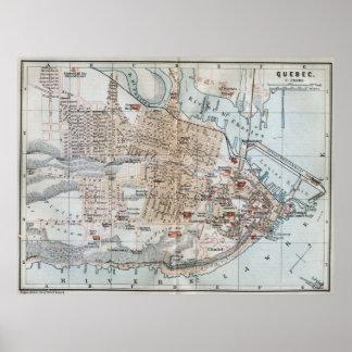 Vintage Map of Quebec City (1894) Poster