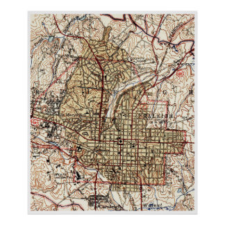 Vintage Map of Raleigh North Carolina (1940) Poster