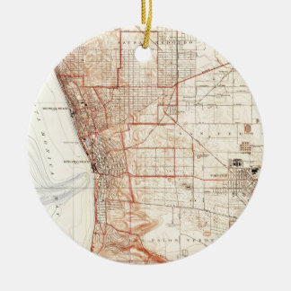 Vintage Map of Redondo Beach & Torrance CA (1934) Ceramic Ornament