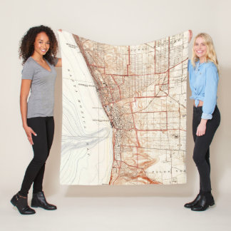 Vintage Map of Redondo Beach & Torrance CA (1934) Fleece Blanket