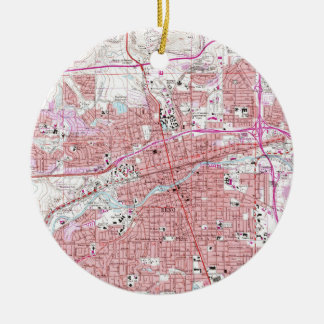 Vintage Map of Reno Nevada (1967) Ceramic Ornament