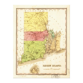 Vintage Map of Rhode Island (1829) Canvas Print