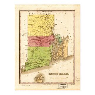 Vintage Map of Rhode Island (1829) Postcard