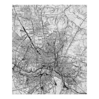 Vintage Map of Richmond Virginia (1934) BW Poster